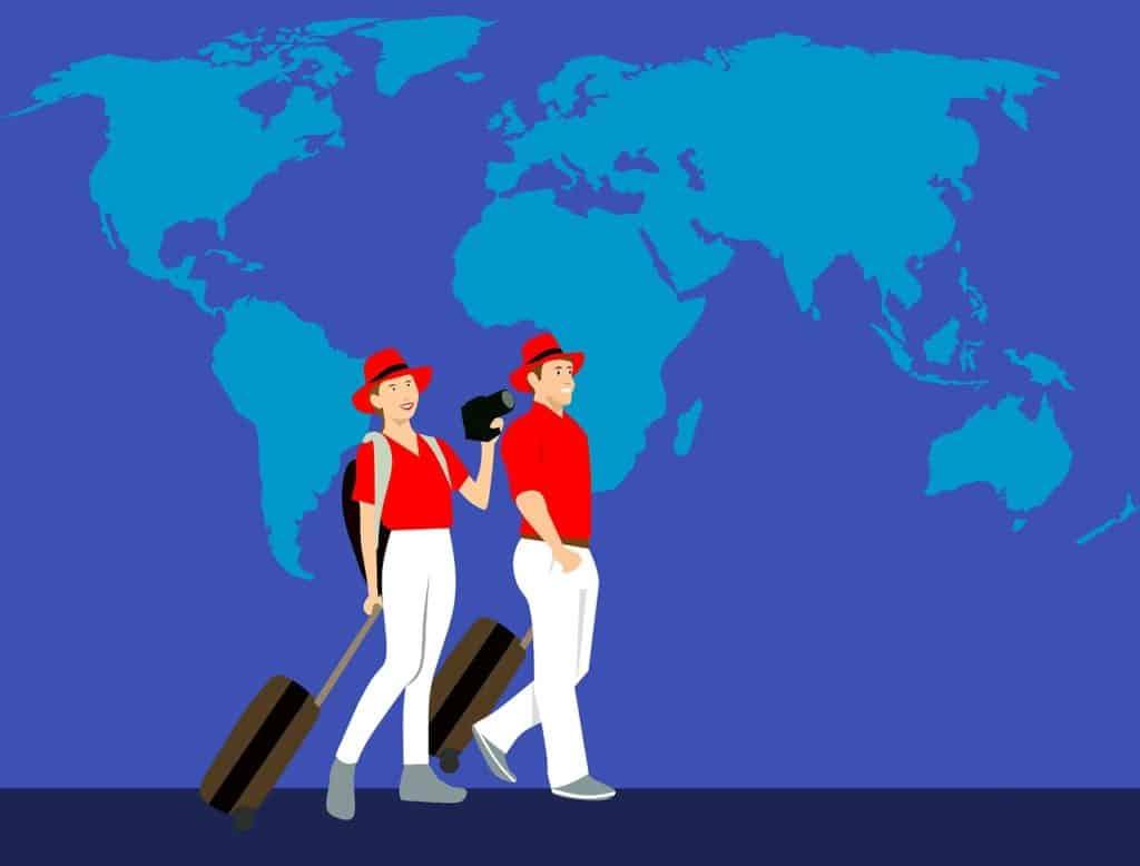 אנשים מטיילים עם מזוודות